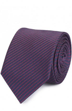 Шелковый галстук в полоску HUGO. Цвет: фиолетовый