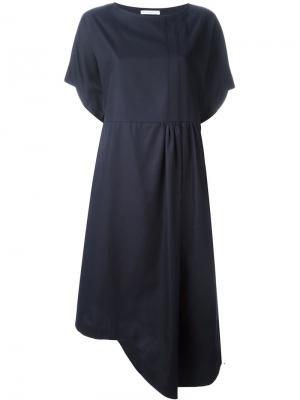Асимметричное платье с плиссировкой Société Anonyme. Цвет: синий