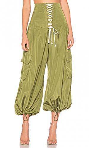 Свободные брюки с корсетом на талии Fenty by Puma. Цвет: оливковый