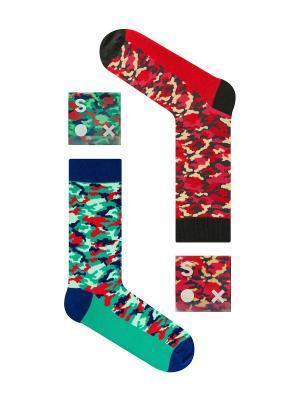 Набор Модные партизаны (2 пары в упаковке), дизайнерские носки SOXshop. Цвет: бирюзовый, темно-красный