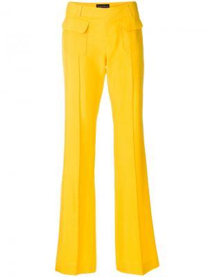 Расклешенные брюки со складками Talbot Runhof. Цвет: жёлтый и оранжевый