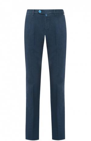 Хлопковые брюки прямого кроя Kiton. Цвет: бирюзовый