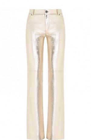 Кожаные расклешенные брюки Chloé. Цвет: золотой