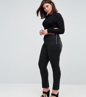 Elvi Черные брюки со змеиным принтом. Цвет: черный