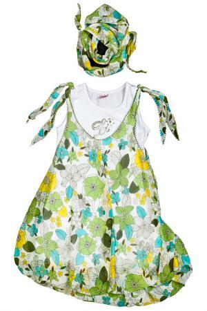 Платье, платок Lilax Baby. Цвет: зеленый