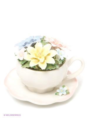 Композиция чаша Весенние цветы Pavone. Цвет: молочный, голубой, зеленый, розовый