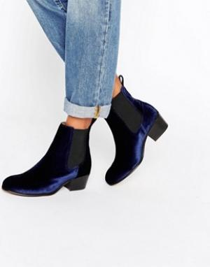 Selected Темно-синие бархатные ботинки челси Femme London. Цвет: темно-синий