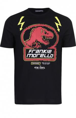 Хлопковая футболка с принтом Frankie Morello. Цвет: черный