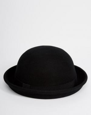 ASOS Черная фетровая шляпа-котелок. Цвет: черный