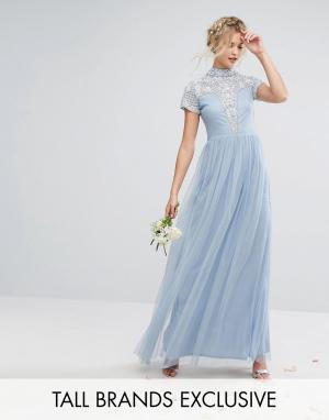 Maya Tall Платье макси с высоким воротом, короткими рукавами и отделкой Tal. Цвет: синий