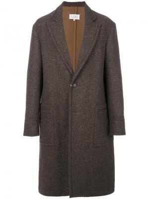 Пальто с меланжевым эффектом Maison Margiela. Цвет: коричневый