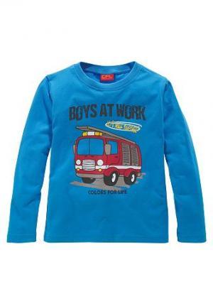 , футболка с длинным рукавом и рисунком в виде пожарной машины, для мальчиков CFL. Цвет: бирюзовый