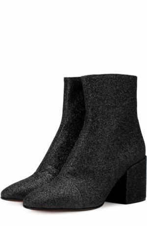 Ботильоны из металлизированного текстиля на массивном каблуке Dries Van Noten. Цвет: черный
