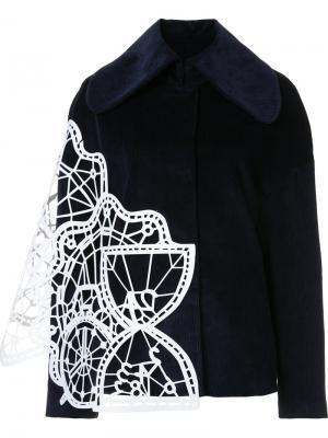 Куртка с контрастной панелью и широким воротником Xiao Li. Цвет: чёрный