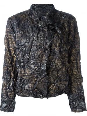Куртка с запахом и эффектом помятости Issey Miyake Vintage. Цвет: чёрный