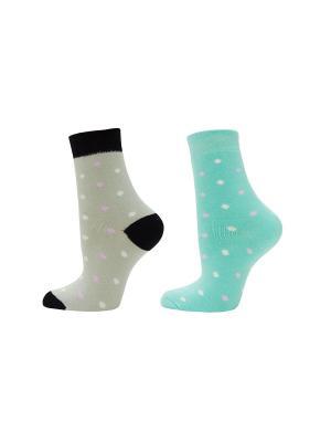 Носки, 2 пары HOSIERY. Цвет: бирюзовый, серый