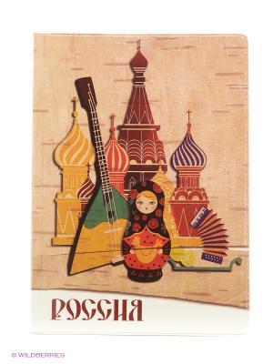 Обложка для паспорта Россия Матрешка А М Дизайн. Цвет: бордовый, коричневый