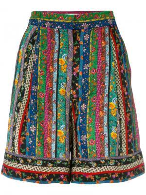 Полосатые шорты с цветочным узором Philosophy Di Lorenzo Serafini. Цвет: многоцветный