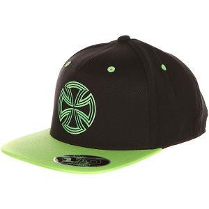 Бейсболка с прямым козырьком  One Ten Snapback Black/Green Independent. Цвет: черный,светло-зеленый