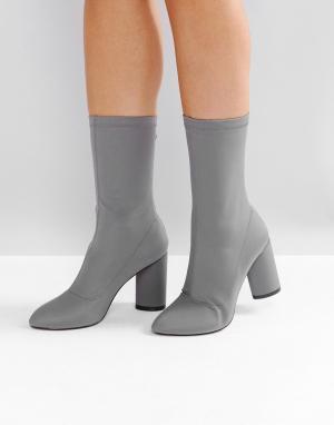 Raid Темно-серые ботинки на каблуке Dale. Цвет: серый