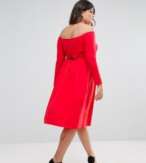 ASOS Curve Платье миди с открытыми плечами, длинными рукавами и запахом CURV. Цвет: красный