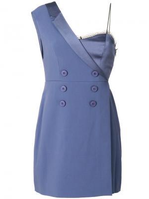 Платье-блейзер Take Shape с открытыми плечами Three Floor. Цвет: синий