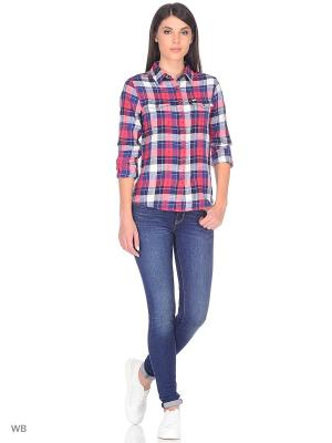 Рубашка LEE WESTERN. Цвет: синий, белый, темно-коричневый