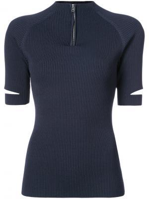 Рубашка-поло с воротником на молнии Nomia. Цвет: синий