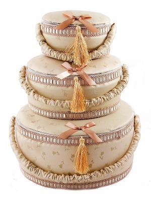 Набор шкатулок для рукоделия из 3-х шт. Русские подарки. Цвет: белый, бежевый
