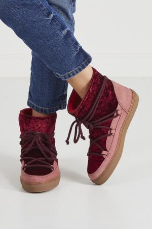 Бордовые ботинки-луноходы с бархатом INUIKII. Цвет: красный