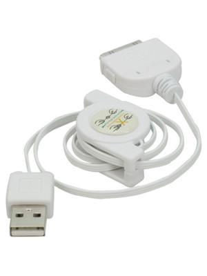 Usb кабель Pro Legend для iPhone 4 провод рулетка. Цвет: белый
