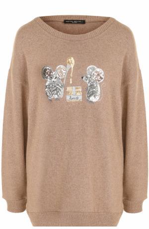 Пуловер свободного кроя с вышивкой пайетками Pietro Brunelli. Цвет: кремовый