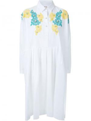 Платье-рубашка с кружевной аппликацией Antonio Marras. Цвет: белый