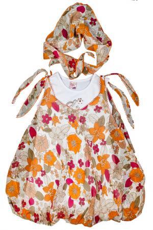 Платье, платок Lilax Baby. Цвет: оранжевый