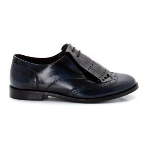Ботинки-дерби из кожи с бахромой La Redoute Collections. Цвет: черный