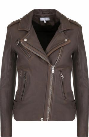 Кожаная куртка с косой молнией и потертостями Iro. Цвет: коричневый