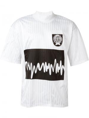 Футболка с принтом звуковых волн Liam Hodges. Цвет: белый