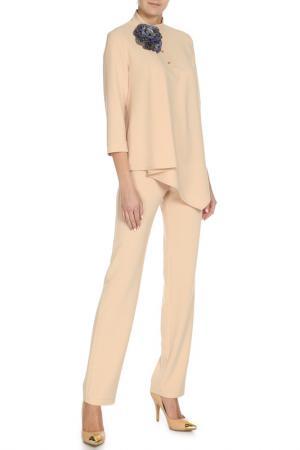Костюм: блуза, брюки Adzhedo. Цвет: светло-бежевый