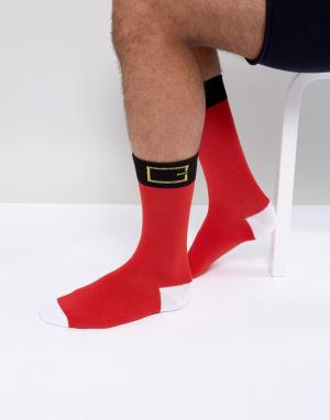 SSDD Новогодние носки расцветки костюма Санты. Цвет: мульти