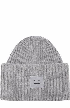 Шерстяная шапка фактурной вязки Acne Studios. Цвет: серый