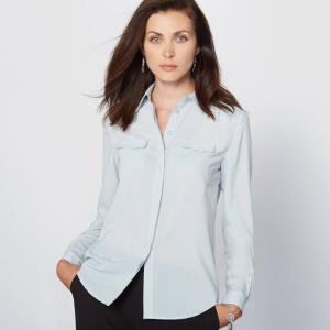 Рубашка из крепа ANNE WEYBURN. Цвет: небесно-голубой,экрю