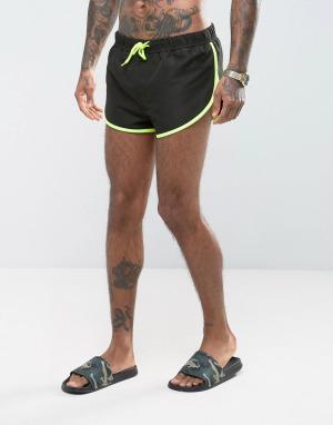 ASOS Черные короткие шорты для плавания с разрезами по бокам. Цвет: черный
