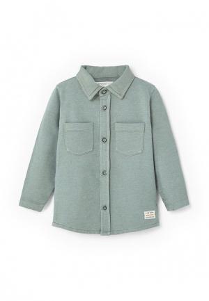 Рубашка Mango Kids. Цвет: зеленый