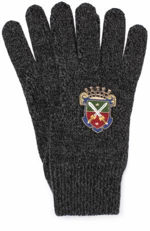 Шерстяные перчатки с вышивкой Dolce & Gabbana. Цвет: серый