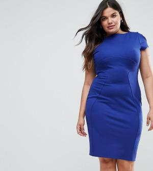 Closet London Plus Платье-футляр с присборенными короткими рукавами. Цвет: синий