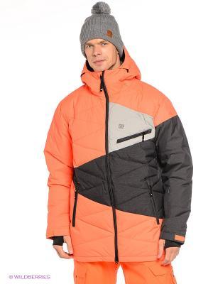 Куртка STAGE 15 DC Shoes. Цвет: оранжевый, черный, серый