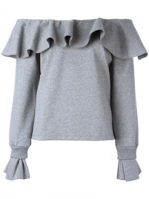 Off-the-shoulder ruffled sweatshirt Opening Ceremony. Цвет: серый