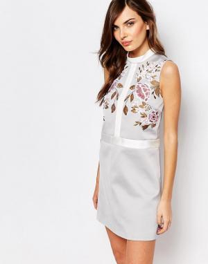 Keepsake Цельнокройное платье с вышивкой. Цвет: серый