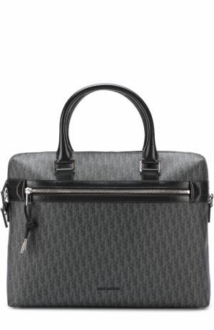 Сумка для ноутбука с отделкой из натуральной кожи Dior. Цвет: темно-серый