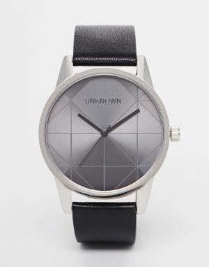 Unknown Часы с черным кожаным ремешком Urban Geo. Цвет: черный